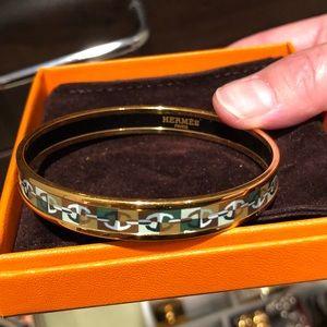 Hermès bangle bracelet green: chaine